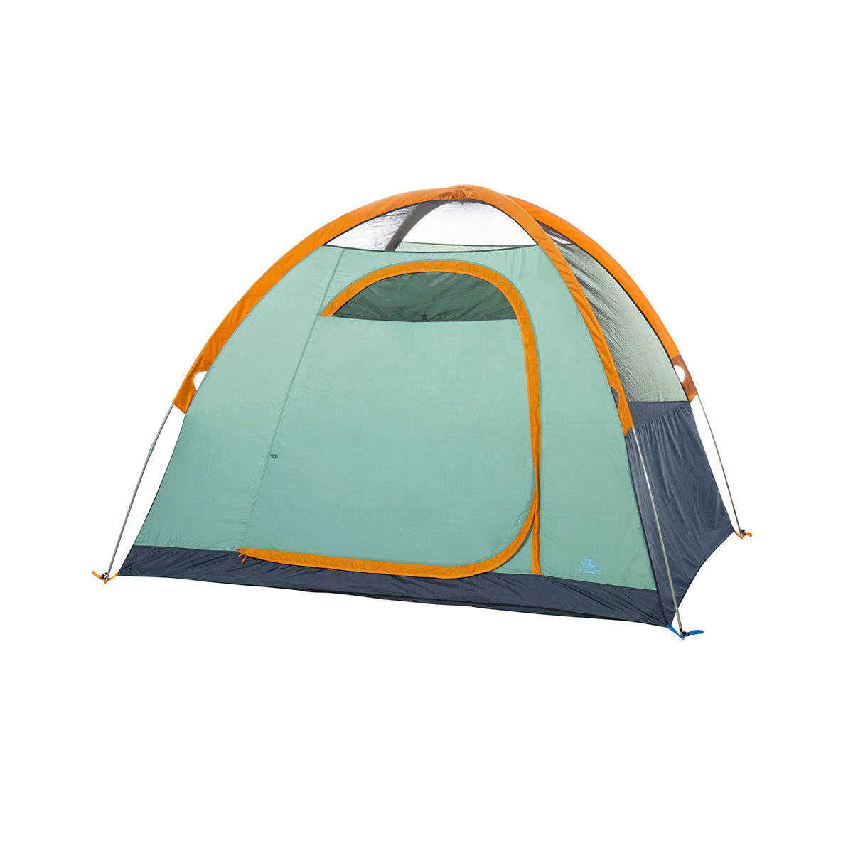 kelty tallboy 4 person tent no fly front view in color light teal with orange accents