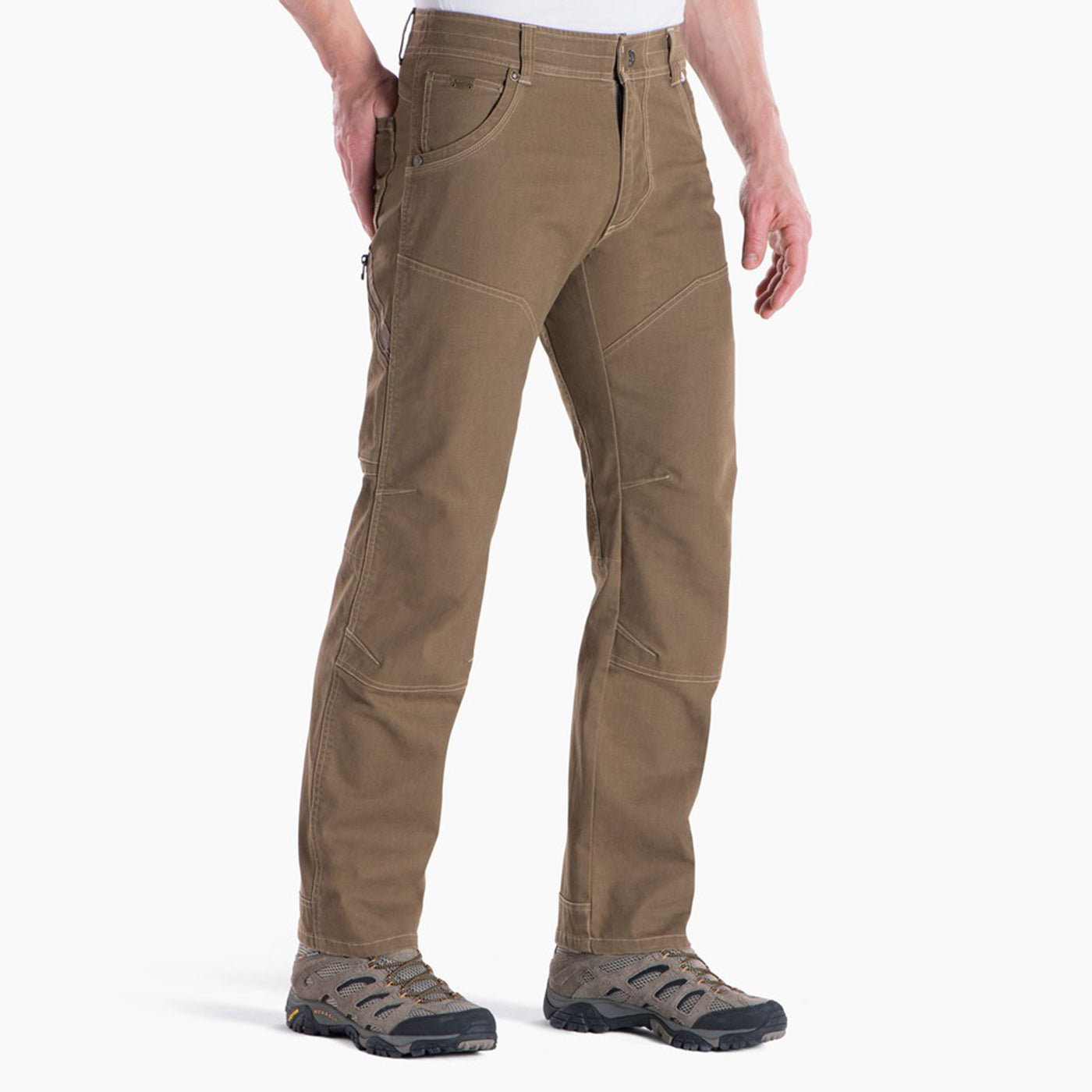 kuhl the law pants mens on model front view in color light brown khaki