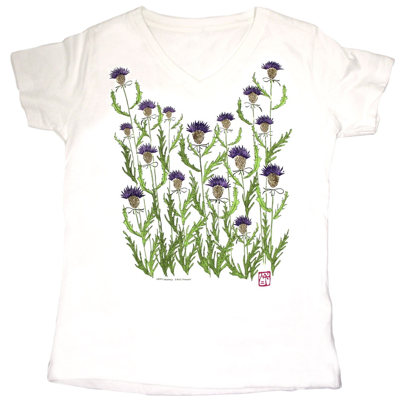 the thistle print on a white tee