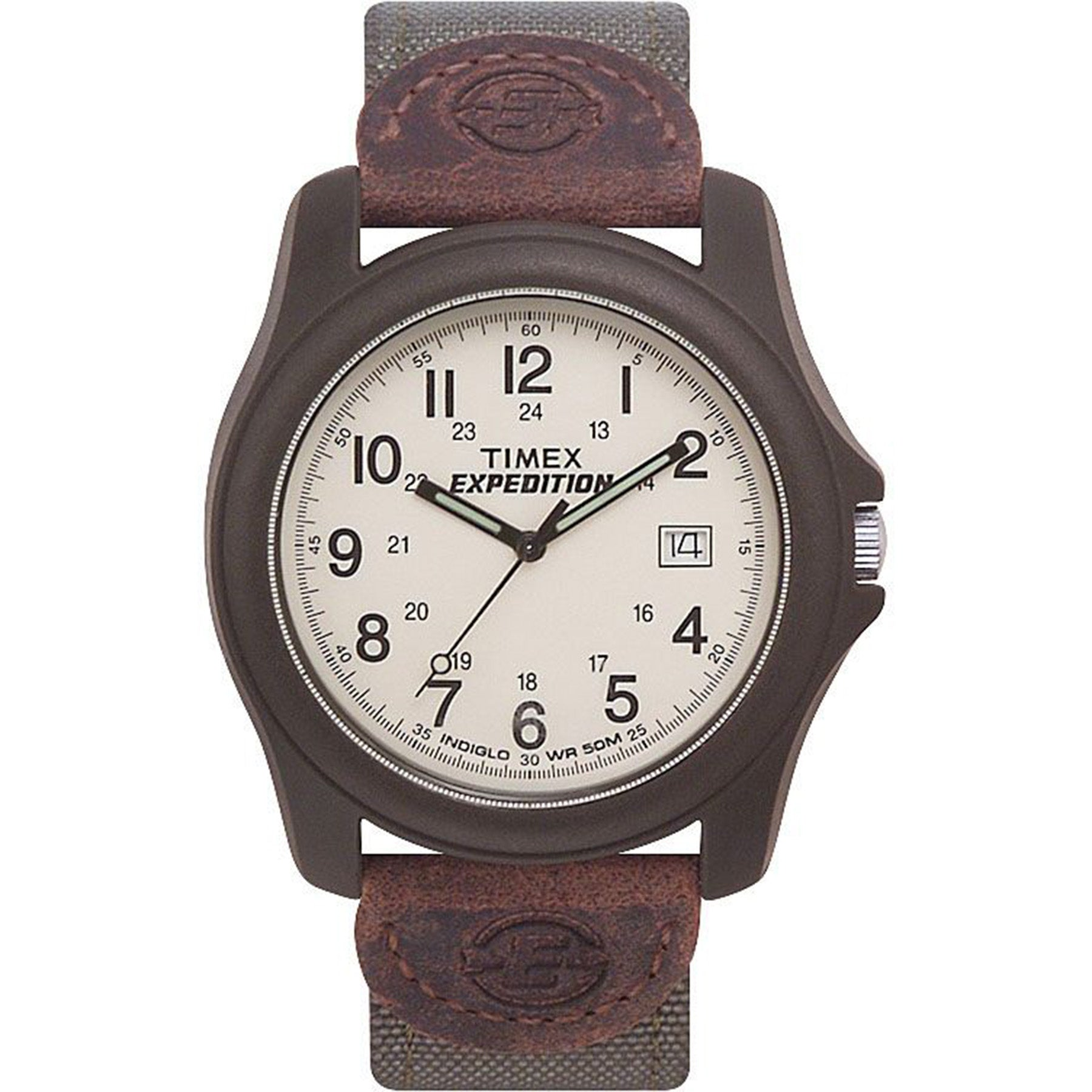 the timex camper watch has hour, minute, and second hands, and a window through which shows the date.