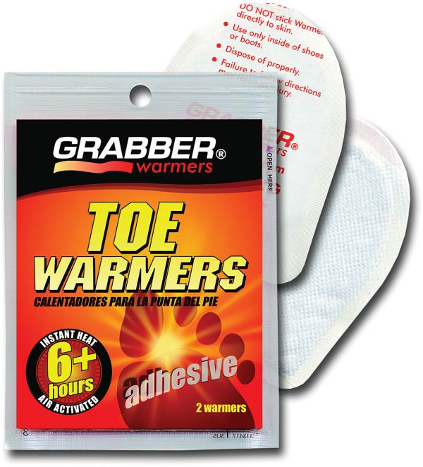shown is the front of the package of the toe warmers and behind the package two of the toe warmers can be seen
