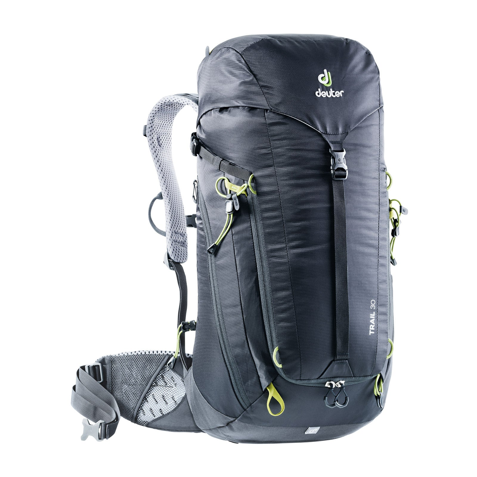 deuter trail 30 backpack front view in color dark grey with lime green details