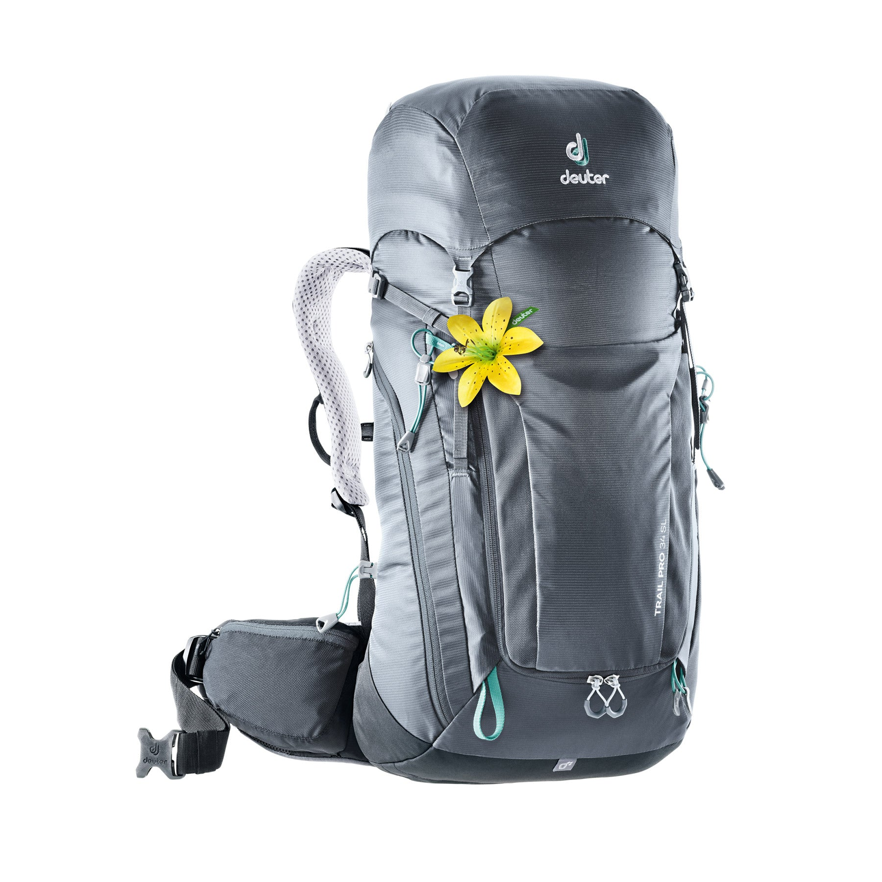 deuter trail pro 24 SL womens backpack front view in color grey with aqua details