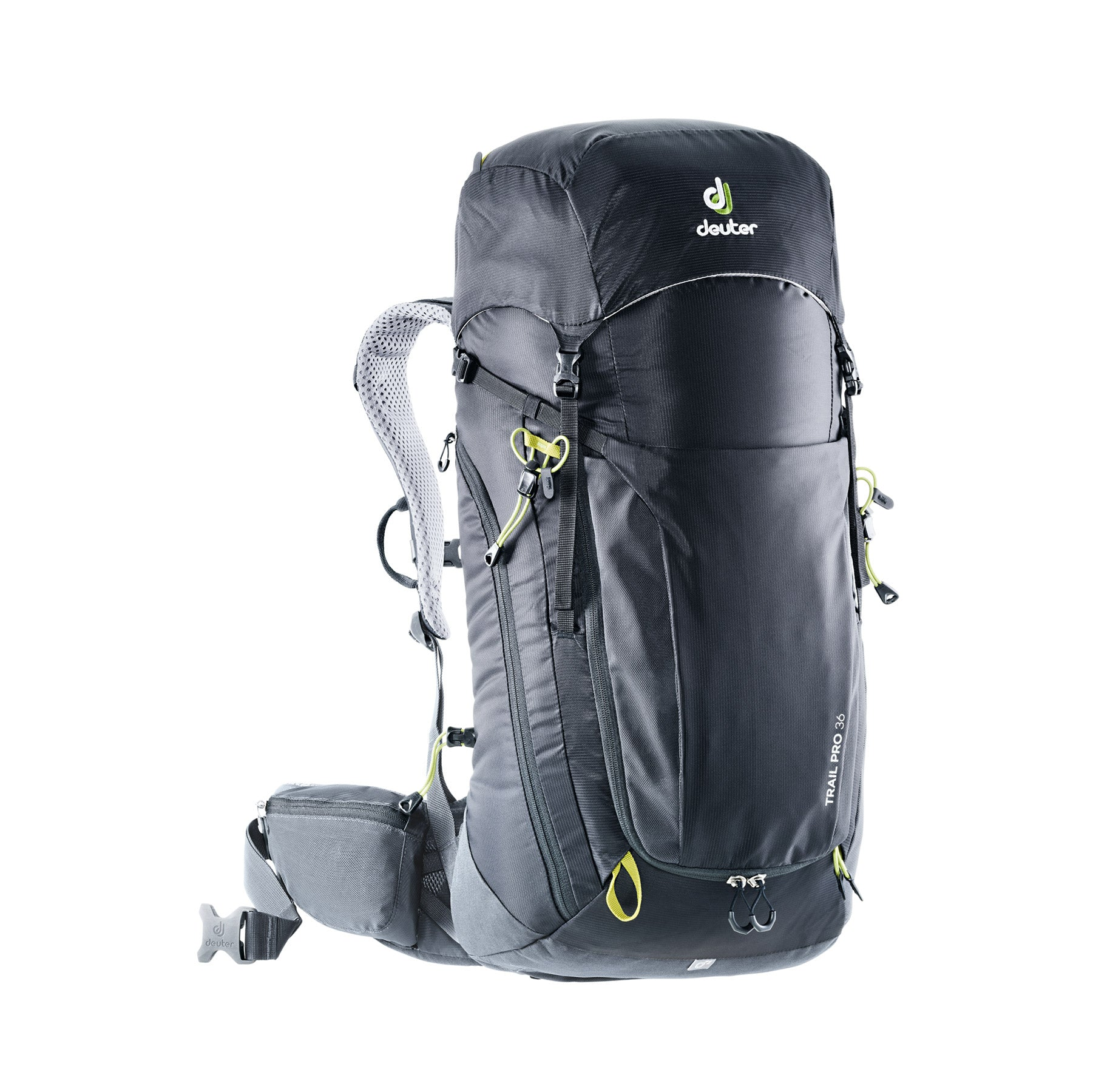 deuter trail pro 36 liter backpack front view in color black with lime green details