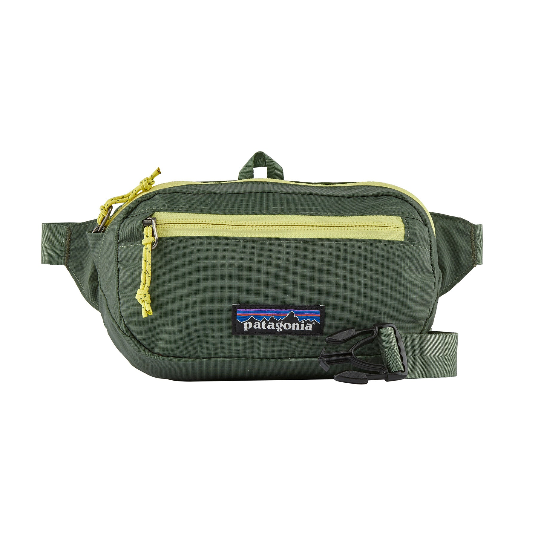 ultralight hip pack in green with yellow zippers