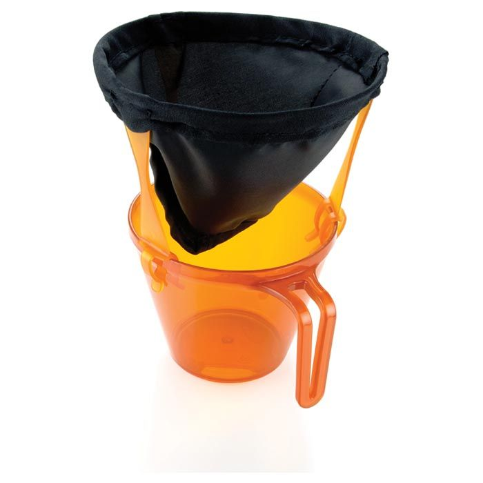 the ultralight java drip placed over an orange plastic cup
