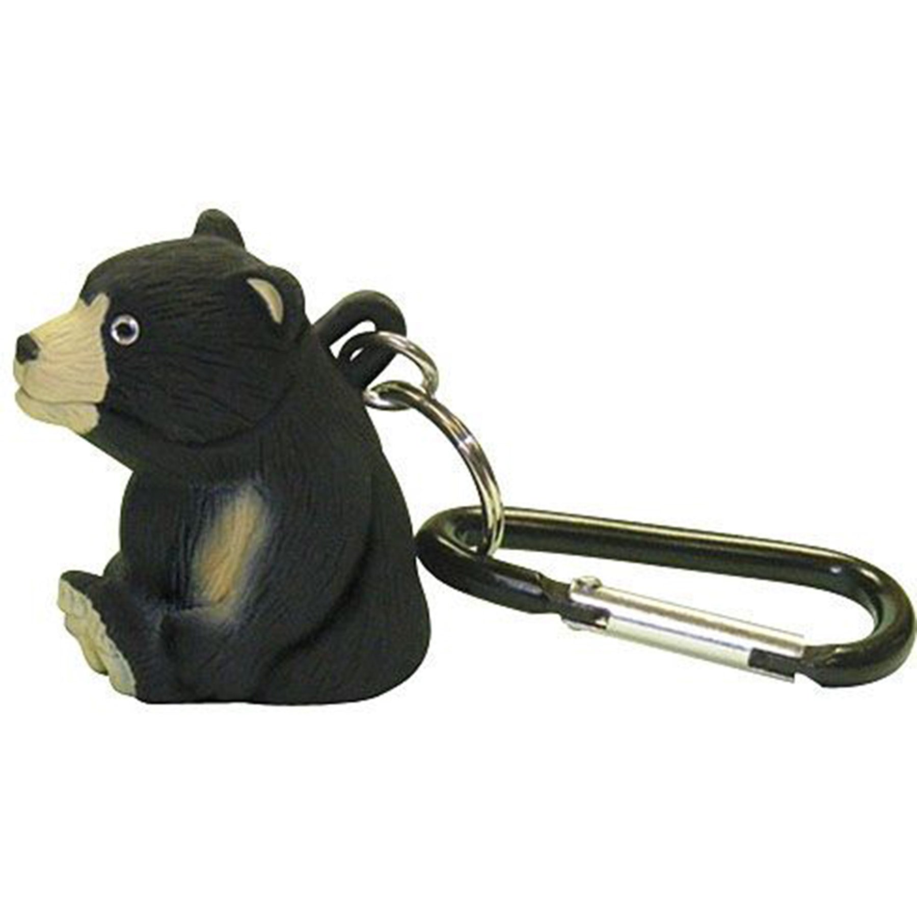 a bear shaped flashlight with attached carabiner