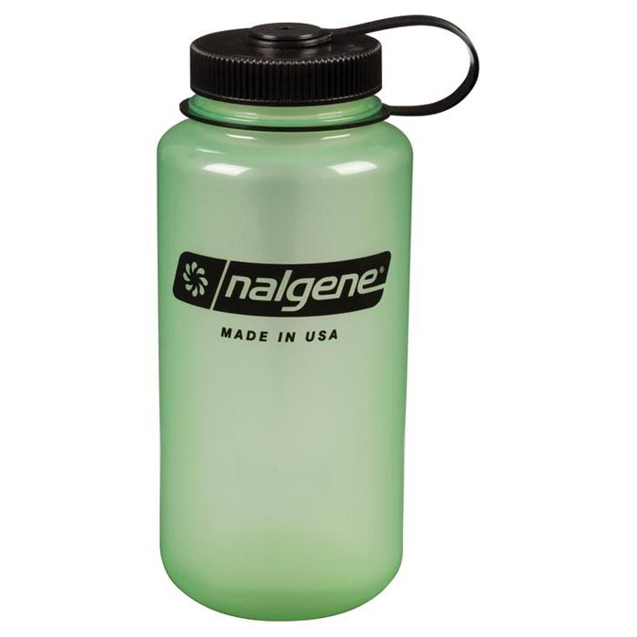 nalgene 32oz wide mouth tritan copolyester outdoor water bottle, glow-in-the-dark