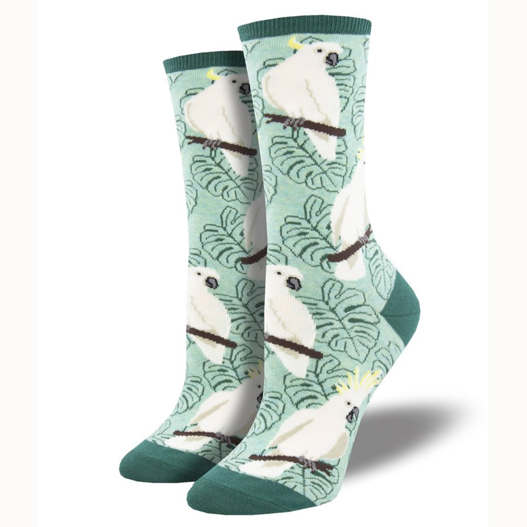 green cockatoo sock