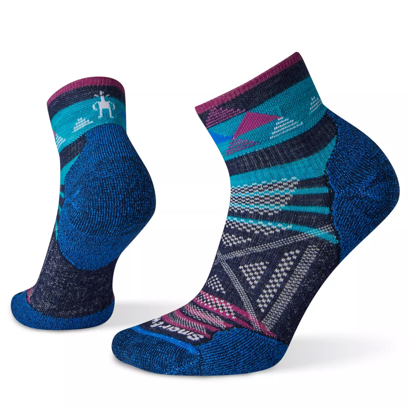 smart wool womens phD outdoor light pattern mini crew socks side and back view in color blue with purple and pink and white patterns