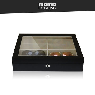 Wooden Glasses Box 12 Sunglasses storage box with Natural wood grain and Glass top window Spectacle case - Best Watch Safe