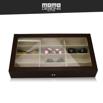Wooden Glasses Box 12 Sunglasses storage box with Natural wood grain and Glass top window Spectacle case - Watch Safe
