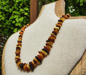 Raw Multi Baltic Amber Chips Necklaces
