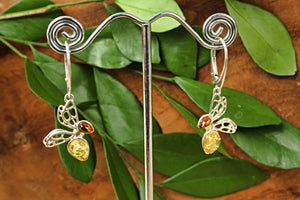 Baltic Amber Bee Earrings