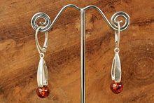 Load image into Gallery viewer, Cognac Baltic Amber Orb Drop Earrings