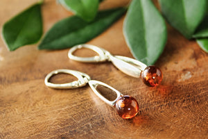 Cognac Baltic Amber Orb Drop Earrings