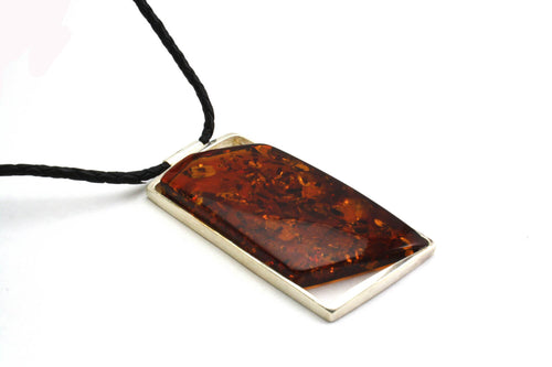 Baltic Amber Pendant on Leather