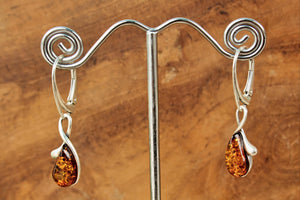 Cognac Baltic Amber Raindrop Earrings
