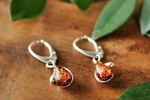 Load image into Gallery viewer, Cognac Baltic Amber Raindrop Earrings