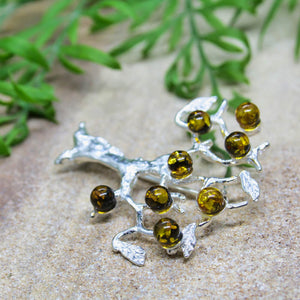 Baltic Amber Tree Brooch