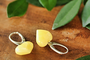 Butterscotch Baltic Amber Heart Earrings