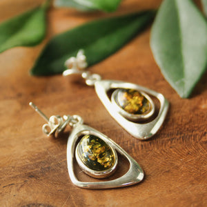 Green Baltic Amber Irregular Triangle Earrings