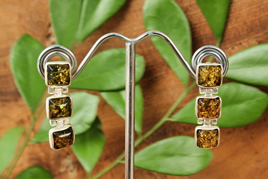 Green Baltic Amber Three Square Drop Earrings