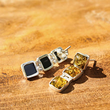Load image into Gallery viewer, Green Baltic Amber Three Square Drop Earrings