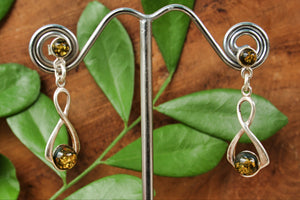 Golden Green Baltic Amber Figure 8 Earrings