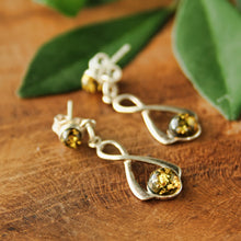 Load image into Gallery viewer, Golden Green Baltic Amber Figure 8 Earrings