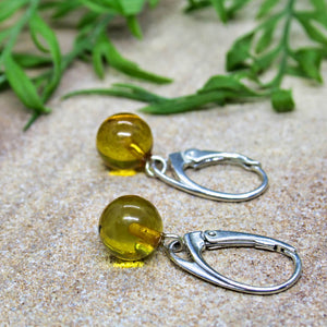 Honey Baltic Amber Orb Drop Earrings