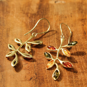 24 Carot Gold Coated Sterling Silver Leaf Earrings
