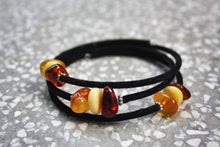Load image into Gallery viewer, Mixed Baltic Amber Beads on Felt Bracelet