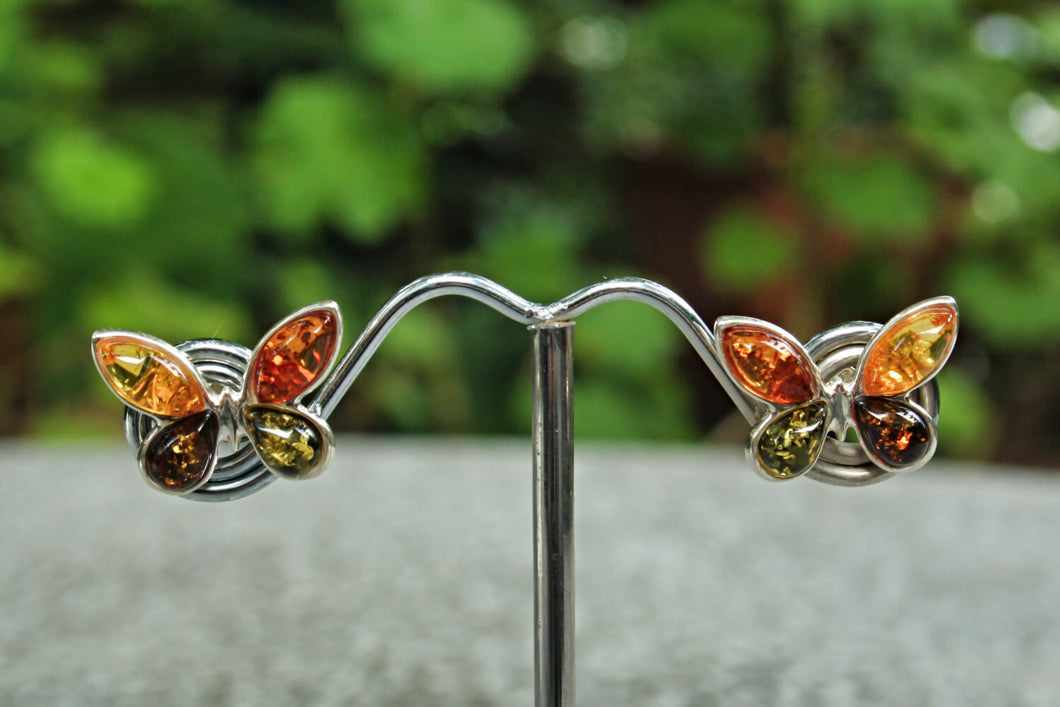 Multi Baltic Amber Butterfly Stud Earrings