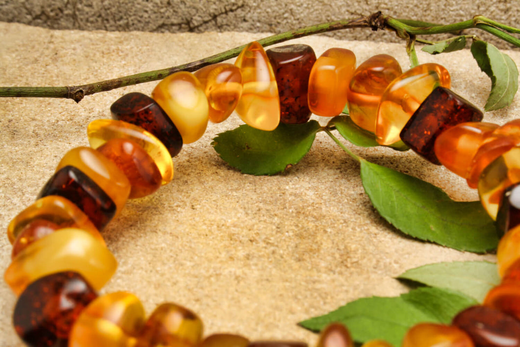 Multi Baltic Amber Bracelet on Elastic