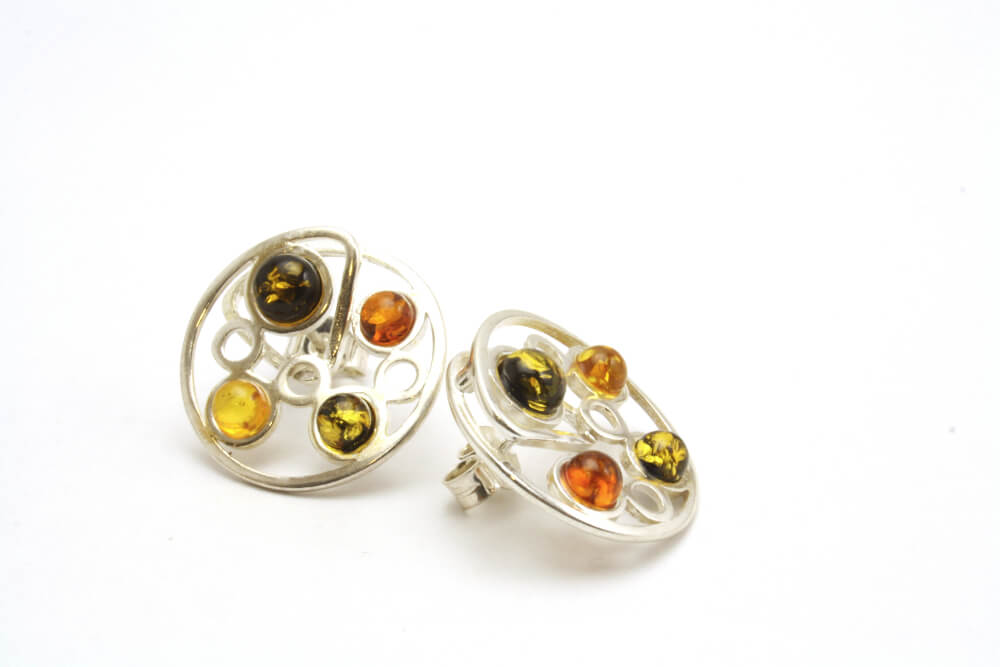 Multicoloured Baltic Amber Circle Spiral Earrings