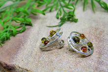 Load image into Gallery viewer, Multicoloured Baltic Amber Circle Spiral Earrings