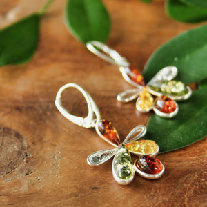 Multi Baltic Amber Flower Earrings