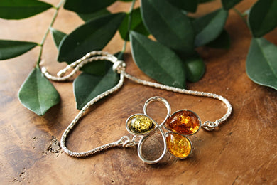 Baltic Amber Chain with Flower