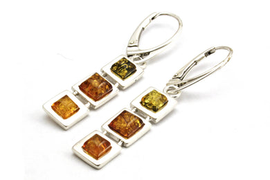 Multi Baltic Amber Three Square Earrings