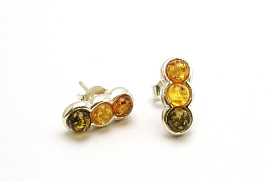 Multi Baltic Amber Three Circle Stud Earrings