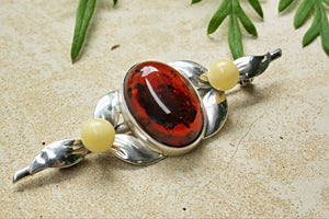 Baltic Amber Oval Tie Brooch