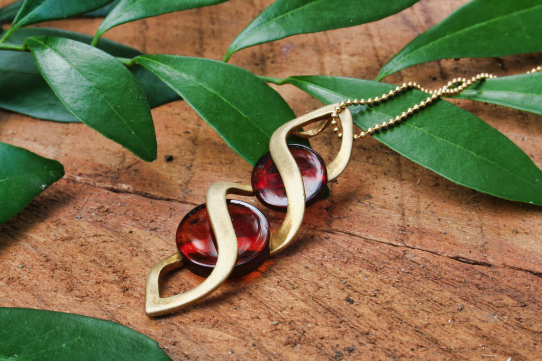Spiral Baltic Amber Pendant on Gold Plated Sterling Silver