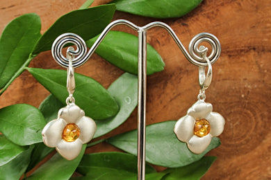 Silver Flower Earrings with Baltic Amber Center