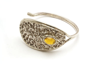 925 Sterling Silver Cuff with Amber Insert