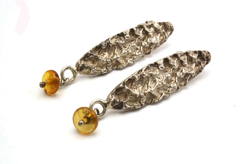 925 Sterling Silver Earrings with Amber Droplets