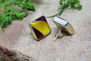 Two Tone Baltic Amber Square Earrings