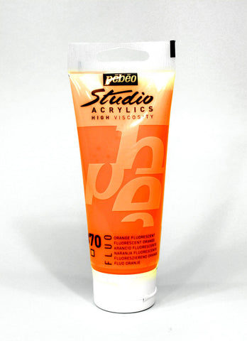 832370 FLUORESCENT ORANGE 100ML ACRYLIC PAINT