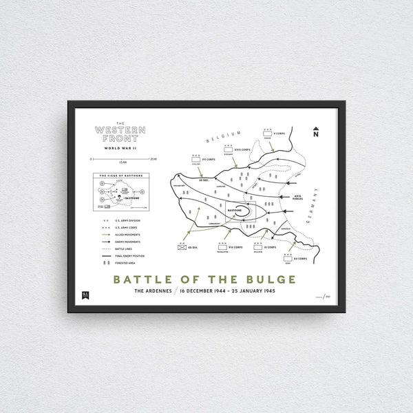 battle of the bulge map wall art print