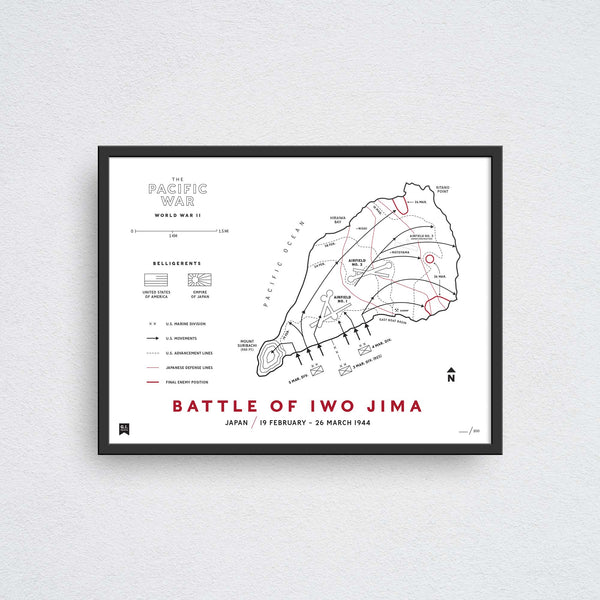 battle of iwo jima map wall art print